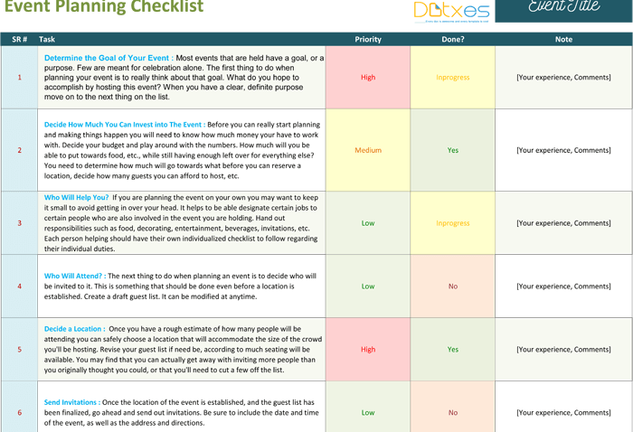 Event Planning Checklist Template - Page 01