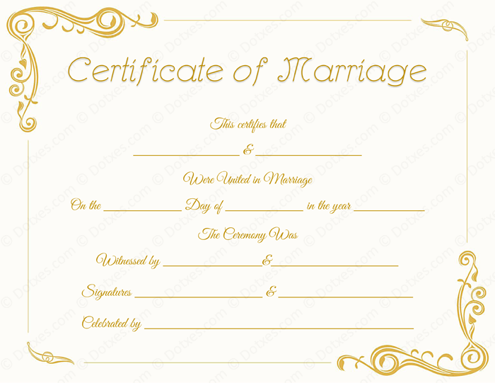 Blank Standard Marriage Certificate Template