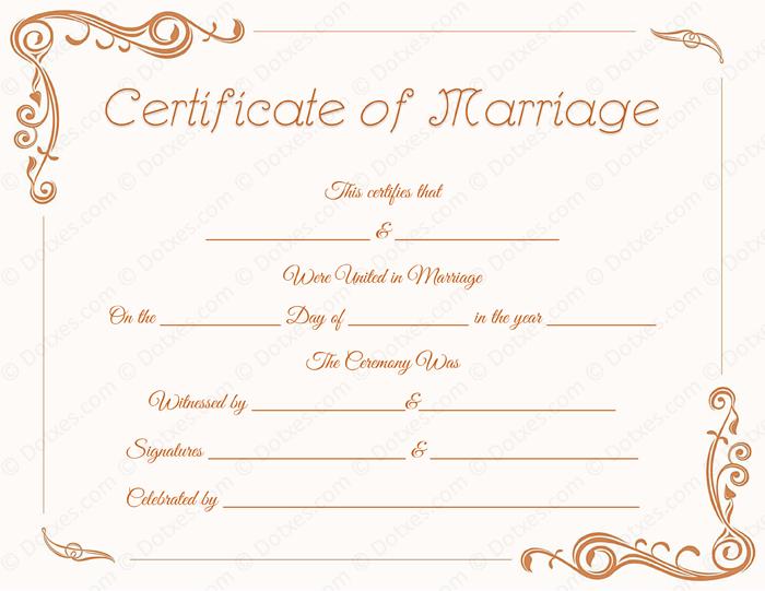 Printable Standard Marriage Certificate Template