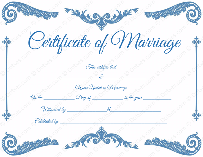 Royal Corner Blank Marriage Certificate Template