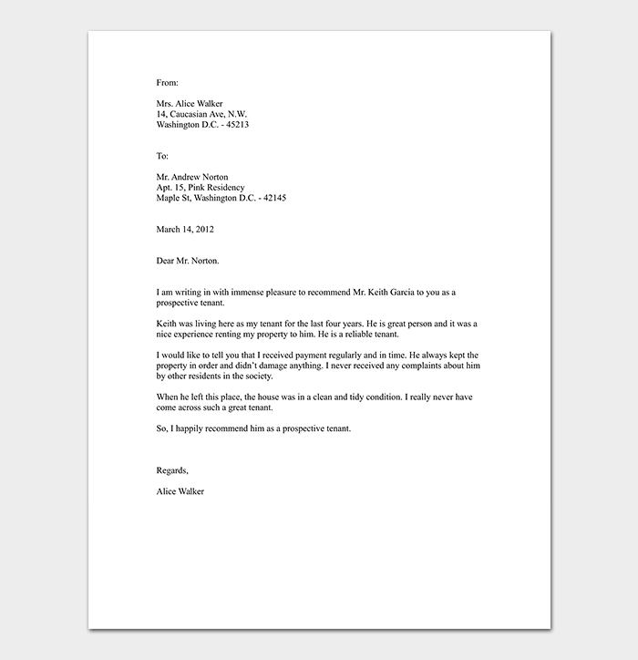 Tenant Recommendation Letter