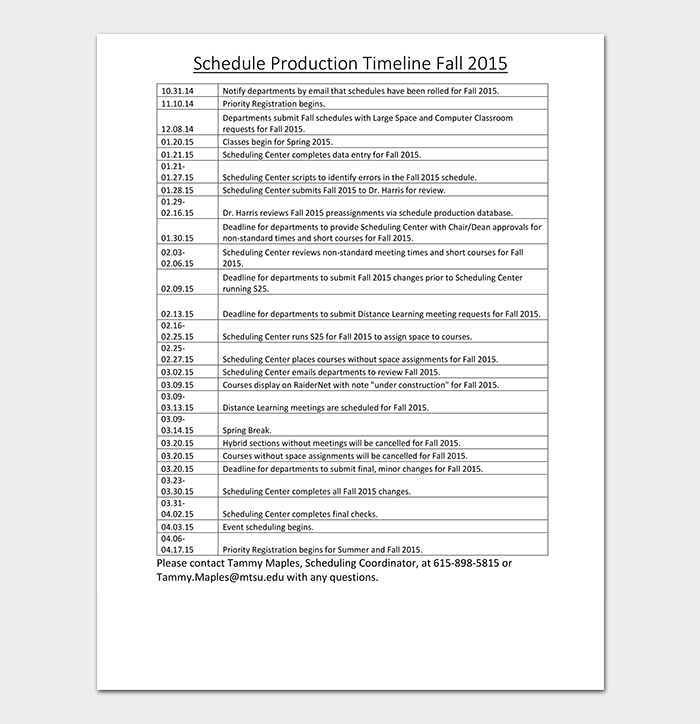 Production Timeline Proposal Template
