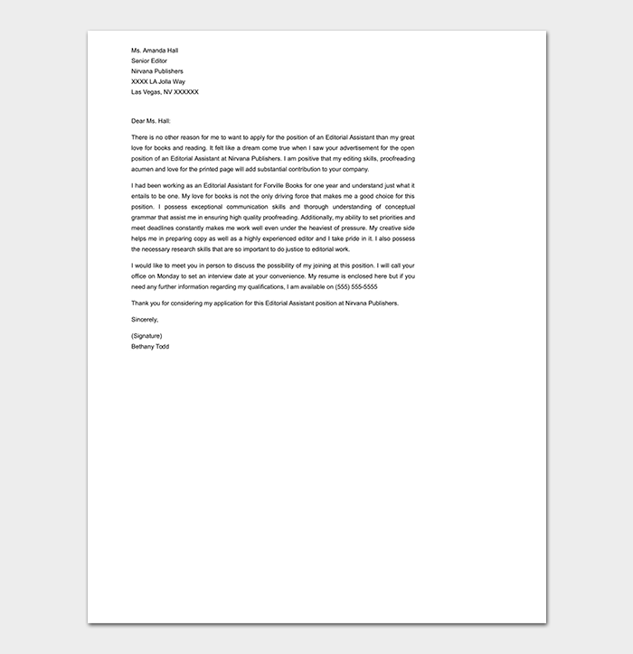 Editorial Assistant Cover Letter DOC