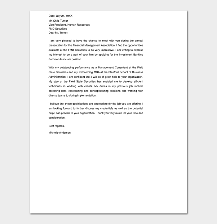Professional Investment Banking Cover Letter