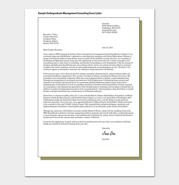 Undergraduate Consulting Cover Letter