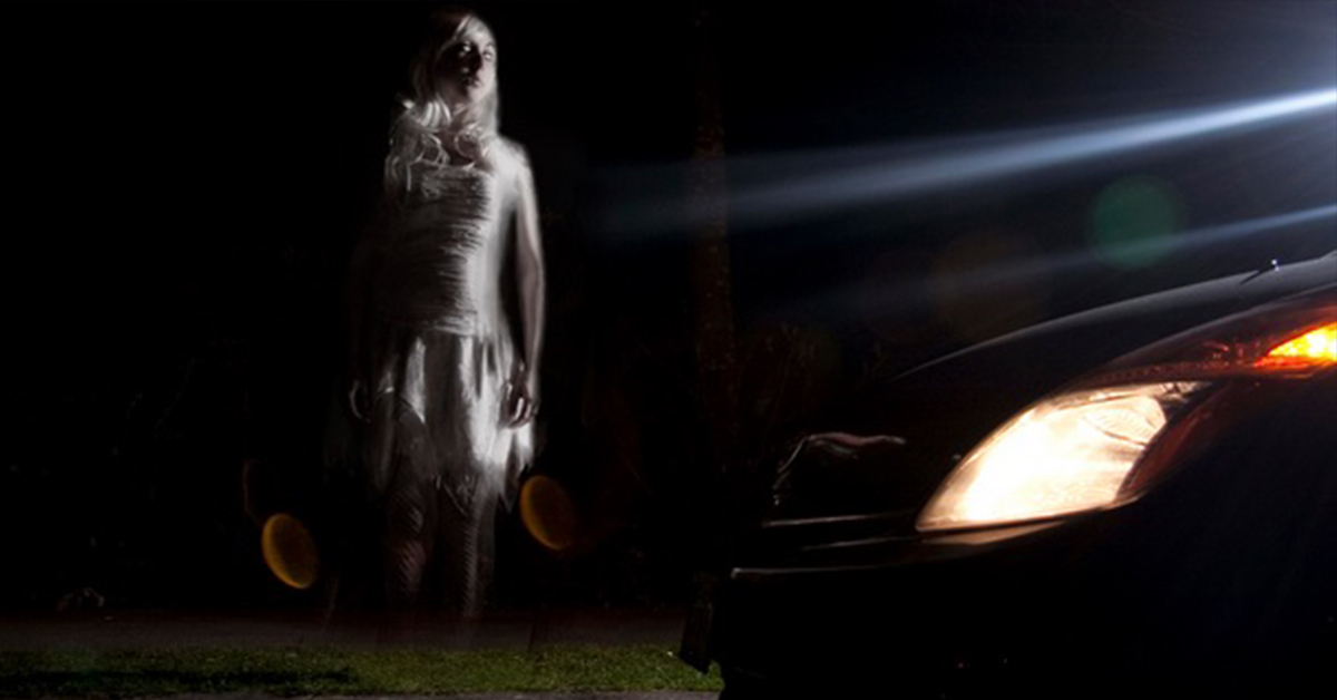 ghost in front of car