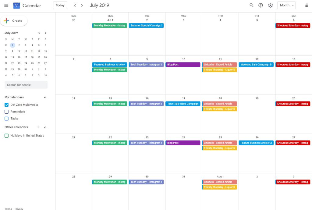 example of social media calendar