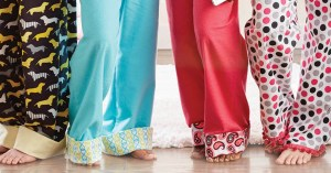 motley fabric pajama pants