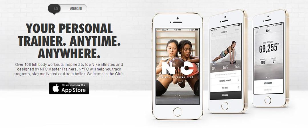Nike Fitness Club Training app Red Platypus