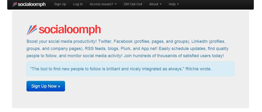 Social Oomph screen grab Red Platypus