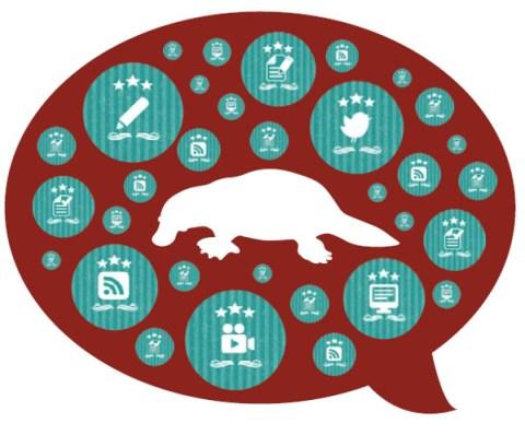 Platypus in speech bubble social media strategy
