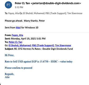Peter's email exchange with EFG Hermes