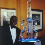 Art Davis with ice sculpture
