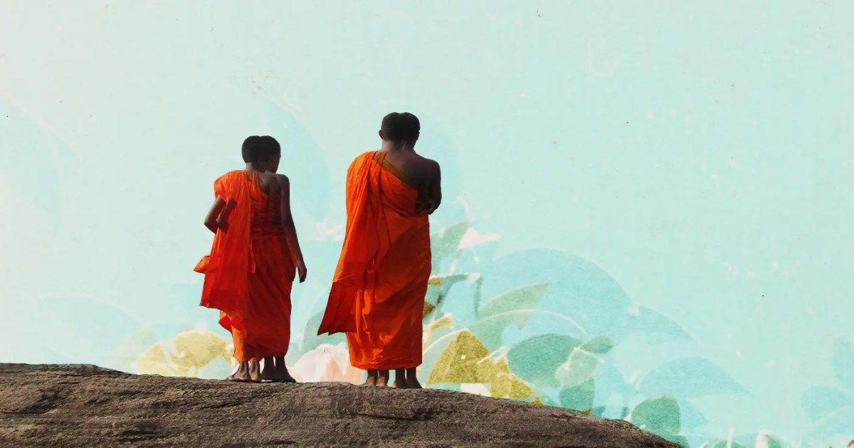 Doubleblind: Two ancient buddhists looking over a rock at a psychedelic pattern.