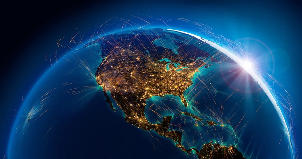 DoubleBlind: 3D Rendering of showing air routes above North America from above at night. In this article, DoubleBlind discusses One Nation Party.