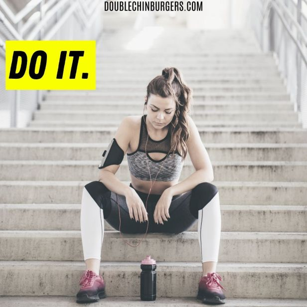 weight loss motivation quote, athletic woman sitting on the stairs