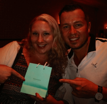 Celebrity chef Jason Roberts and Alyssa Curran of the Double Chin Diary celebrate a raffle prize win from Nutrilite!