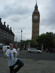 April doing her tree pose in front of Big Ben in London