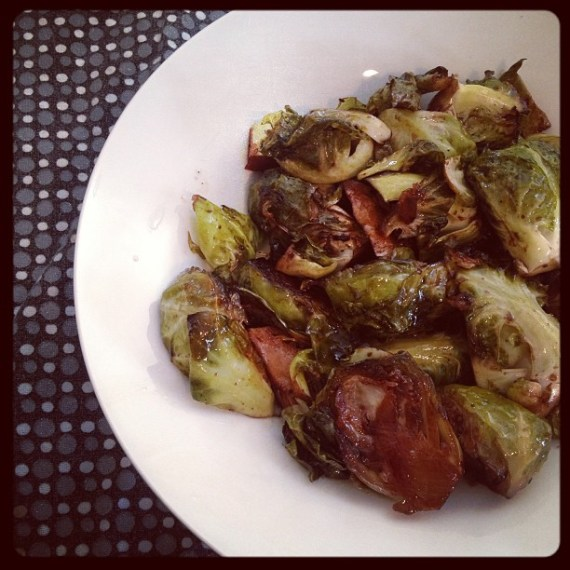Roasted Brussels Sprouts with Balsamic Vinegar and Rock Salt