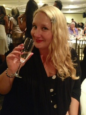 Enjoying some champagne at a friend's wedding