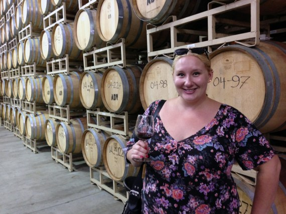 Sipping zinfandel in front of $3,000 barrels!