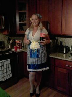 """April's homemade beer girl costume and her evil boyfriend, """"Coke"""""""