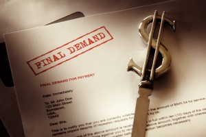 Final demand notice concept for debt, past due and overdue payment