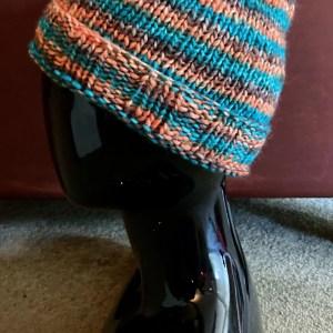 Colorful Hat - Aqua Orange and Brown Med 02