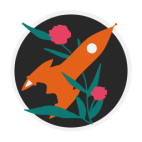 A logo of Double Proficiency: an orange spaceship crossing with a green vine blooming with pink flowers.