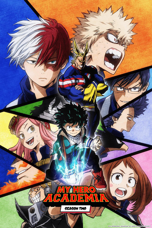 My Hero Academia Season 2 Cover Art featuring Deku, All Might, and other characters