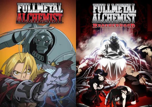 Fullmetal Alchemist and Fullmetal Alchemist: Brotherhood anime cover arts