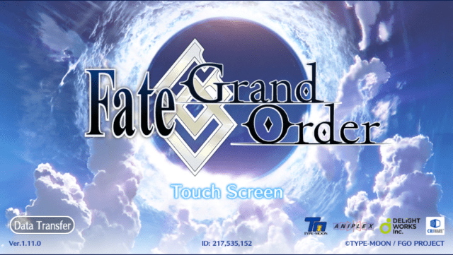 Title screen of the Fate/Grand Order mobile game based off the Fate anime series
