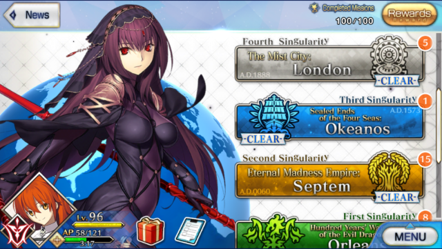 Main menu of the Fate/Grand Order mobile game based off the Fate anime series