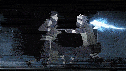 Kakashi Hatake vs. Obito Uchiha from the anime Naruto: Shippuden