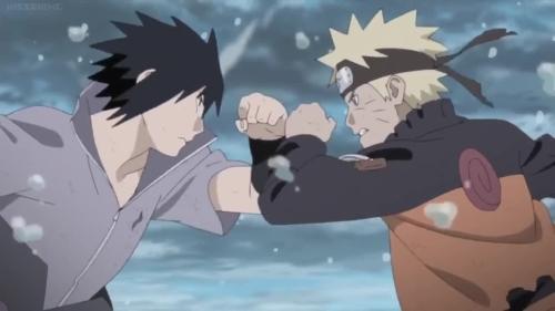 Naruto Uzumaki vs. Sasuke Uchiha from the anime Naruto: Shippuden