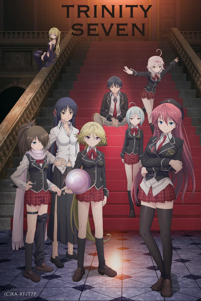 Trinity Seven anime cover art featuring Arata and the members of the Trinity Seven