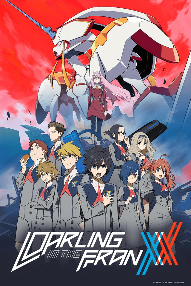 Darling in the FranXX anime cover art featuring the main characters