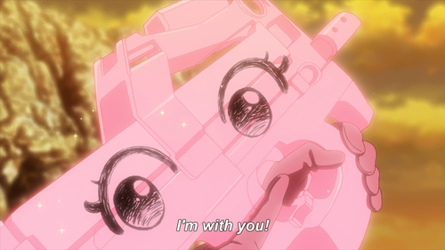 P-chan speaking to LLENN (from the anime Sword Art Online Alternative: Gun Gale Online)
