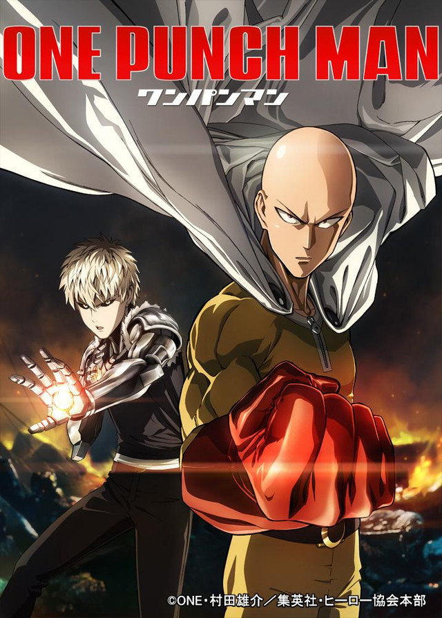 One Punch Man anime cover art featuring Saitama and Genos
