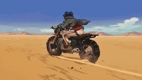 """""""Gearless"""" Joe on his motorcycle from the anime Megalo Box"""