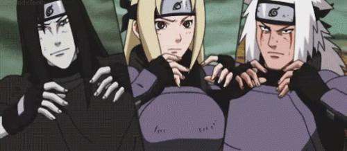 Orochimaru, Tsunade, and Jiraiya (from the anime Naruto: Shippuden)