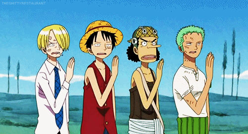Sanji, Luffy, Usopp, and Zoro from the anime One Piece