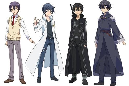 Protagonists Kanade, Touya, Kirito, and Satou from various anime