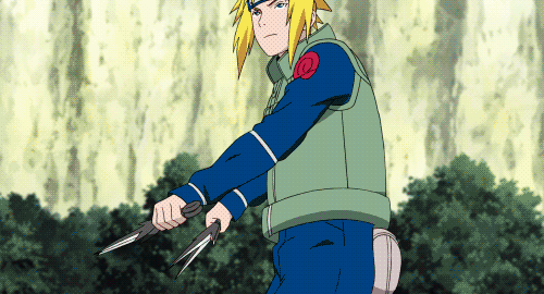 Minato Namikaze preparing to use his Teleportation Jutsu from the anime Naruto: Shippuden