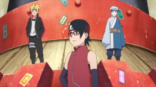Boruto Uzumaki, Sarada Uchiha, and Mitsuki from the anime Boruto: Naruto Next Generations