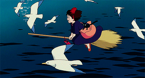 Kiki and Jiji flying with seagulls from the anime movie Kiki's Delivery Service