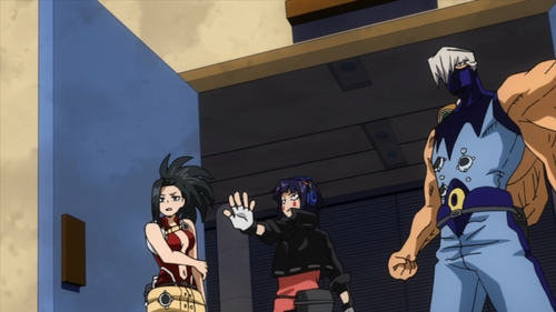 Momo Yaoyorozu, Kyouka Jiro, and Mezo Shoji from U.A. (My Hero Academia anime)