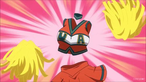 Toru Hagakure wearing a U.A. cheerleader uniform from the anime My Hero Academia