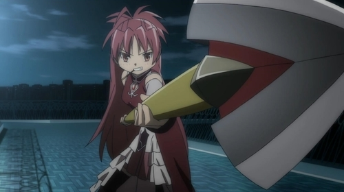 Magical girl Kyouko Sakura with her chain spear from the anime Puella Magi Madoka Magica
