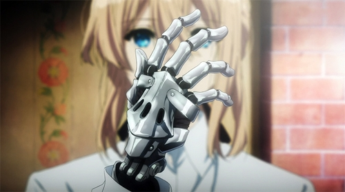 Violet and one of her mechanical hands from the anime Violet Evergarden